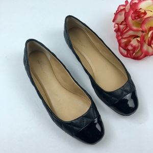 ANN TAYLOR Black Quilted Leather Flats Size 6.5
